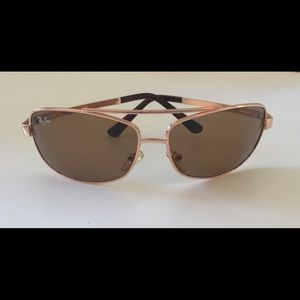 RAY-BAN GOLD AVIATOR SUNGLASSES SQUARE PREOWNED